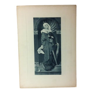 "Vintage Print on Paper, ""Lady With a Sword"" - Artist Unknown, Circa 1900 For Sale"