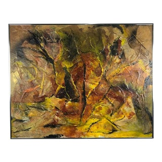 1970s Vintage Abstract Mixed Media Painting For Sale