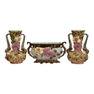 Pair of 19th Century French Hand-Painted Barbotine Vases With Matching Cachepot