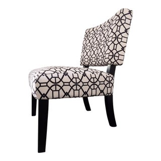 Modern Graphic Print Black & White Accent Chair For Sale