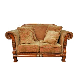 Italian Inspired Corduroy Loveseat Sofa For Sale