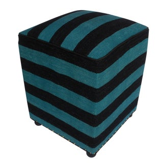 Arshs Deedra Blue/Black Kilim Upholstered Handmade Ottoman For Sale
