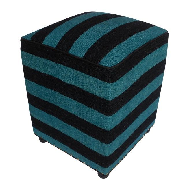 Arshs Deedra Blue/Black Kilim Upholstered Handmade Ottoman For Sale