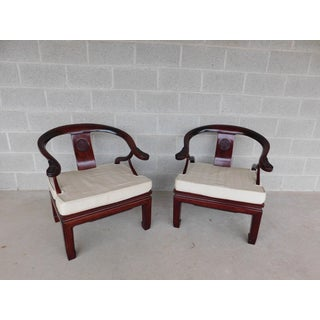 Vintage Chinese Ming Style Rosewood Arm Chairs - a Pair Preview