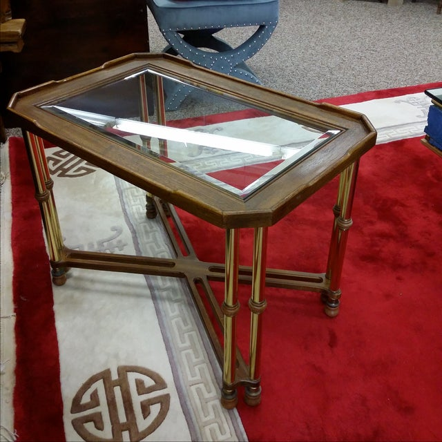 Hollywood Regency Glass Top Wood & Brass End Table For Sale - Image 7 of 8