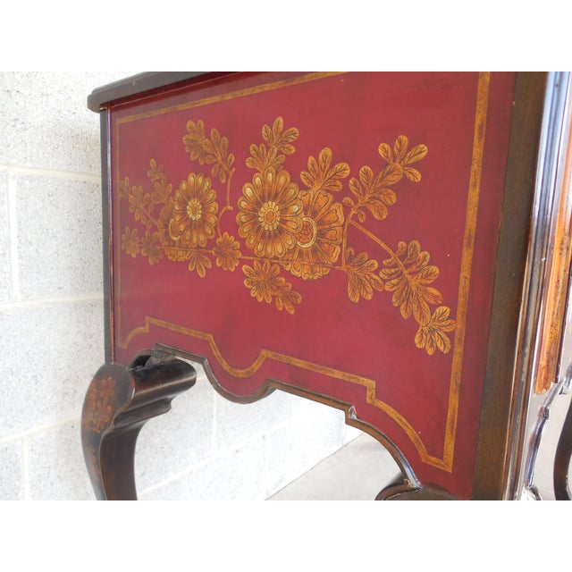 Red Maitland Smith Chinoiserie Hand Paint Decorated Marble Top Console Sideboard For Sale - Image 8 of 13