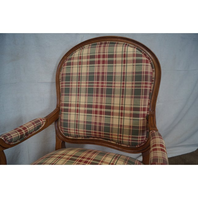 Fairfield French Style Plaid Upholstered Arm Chair - Image 7 of 10