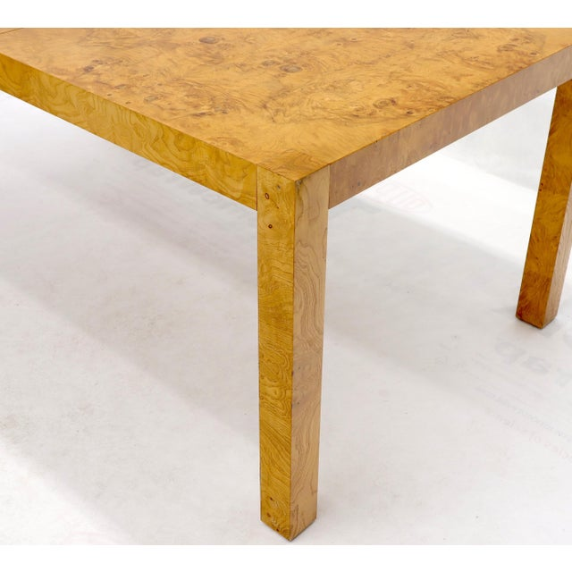 Rectangle Shape Burl Wood Dining Room Table with Two Extension Leaves Boards For Sale - Image 9 of 12