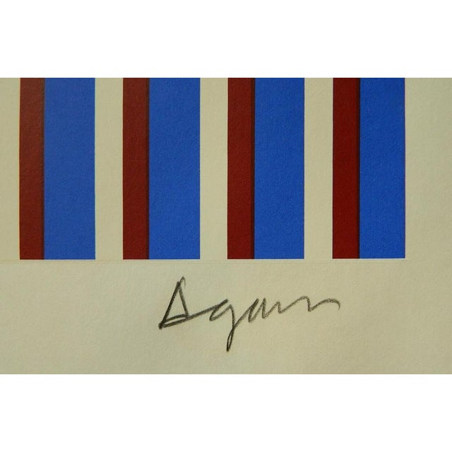 Yaacov Agam Israeli 1928 - Untitled silkscreen print. 14 x 35 in. plus full margins. Hand-signed and numbered 2/99 with...