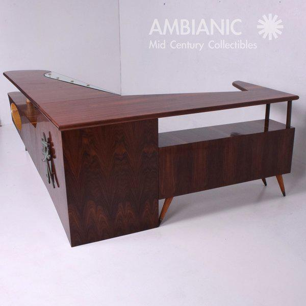 Modernist Rosewood Desk with Mendoza Hardware For Sale In San Diego - Image 6 of 10