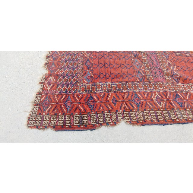"Textile Vintage Turkoman Tekke Rug-3'11'x5"" For Sale - Image 7 of 12"