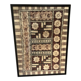 1950s African Large Bark Cloth Painting For Sale