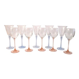 1980s Pink & Blue Crystal Wine Glasses - Set of 10 For Sale