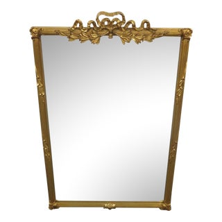 Italian Style Ribbon Carved Gold Gilt Mirror For Sale