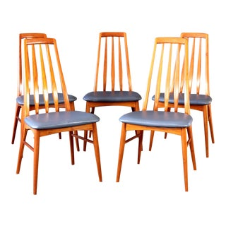 Vintage Mid Century Danish Koefoeds Hornslet Eva Teak Dining Chairs- Set of 5 For Sale