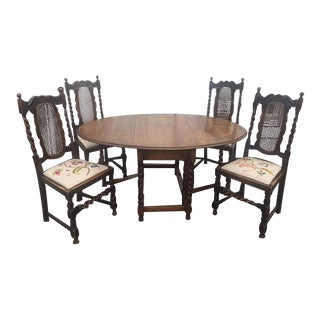 Antique English Tiger Oak Gateleg Barley Twist Drop Leaf Dining Table With 4 Embroidered Seat Barley Twist Chairs For Sale