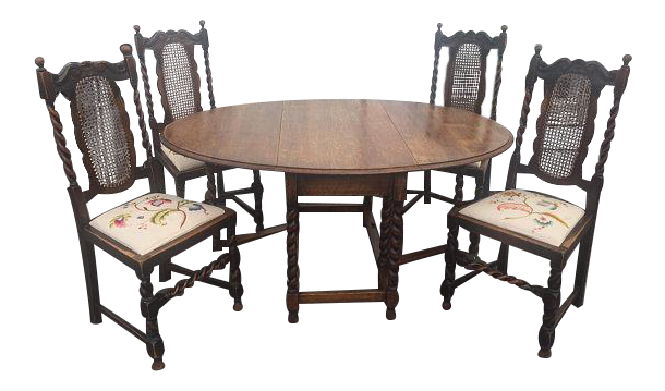 Antique English Tiger Oak Gateleg Barley Twist Drop Leaf Dining Table With  4 Embroidered Seat Barley
