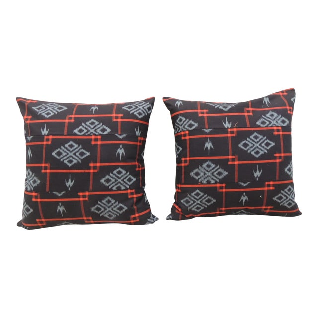 Vintage Asian Red & Black Ikat Woven Textile Square Decorative Pillows- a Pair For Sale