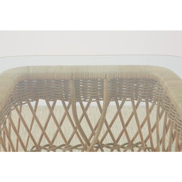 McGuire Organic Modern Rattan Wicker Coffee Cocktail Table For Sale - Image 12 of 13