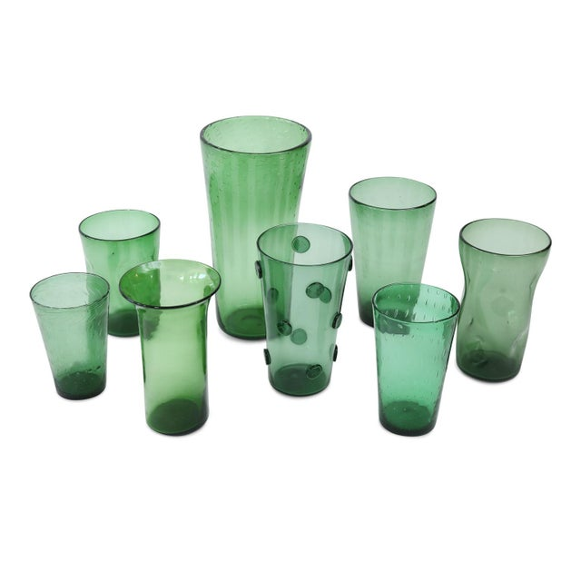 1960s Italian Green Glass Vase For Sale - Image 5 of 6