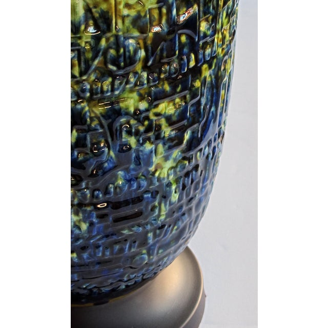 A Massive and Richly-Colored Pair of American 1960's Ceramic Lamps With Blue, Green and Yellow Drip Glaze For Sale - Image 4 of 8