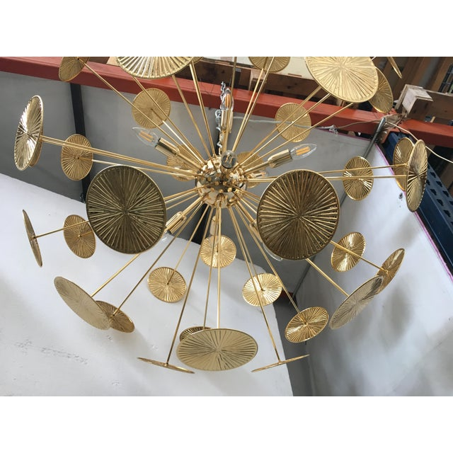 2010s Early 21st Century Gold Metal Frame Sputnik Chandelier For Sale - Image 5 of 11