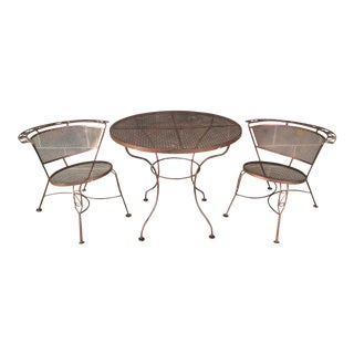 Vintage Wrought Iron Bistro Chairs & Table - Set of 3 For Sale