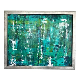Original Abstract Blue and Green Painting For Sale