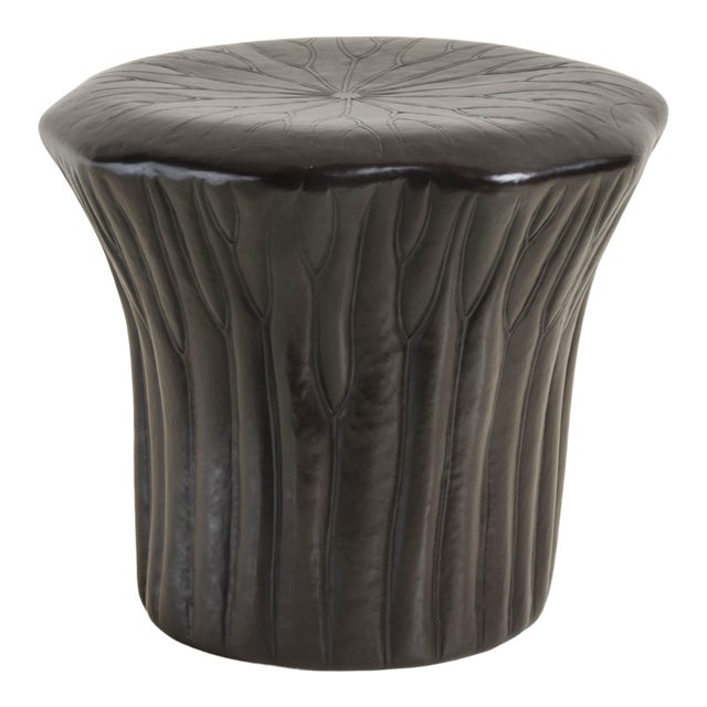 Lotus Drumstool - Dark Antique Copper by Robert Kuo, Hand Repoussé, Limited Edition For Sale