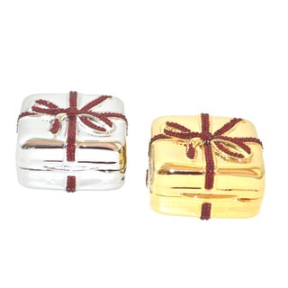 Judith Leiber PillBox Gold Silver Red Crystals - A Pair