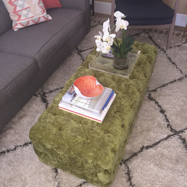 Green Tufted Velvet Ottoman/Coffee Table - Image 4 of 7