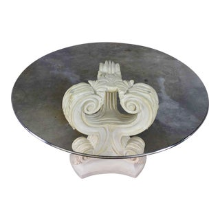 Neoclassical Architectural Plaster Pedestal Dining or Center Table W/ Round Glass Top For Sale