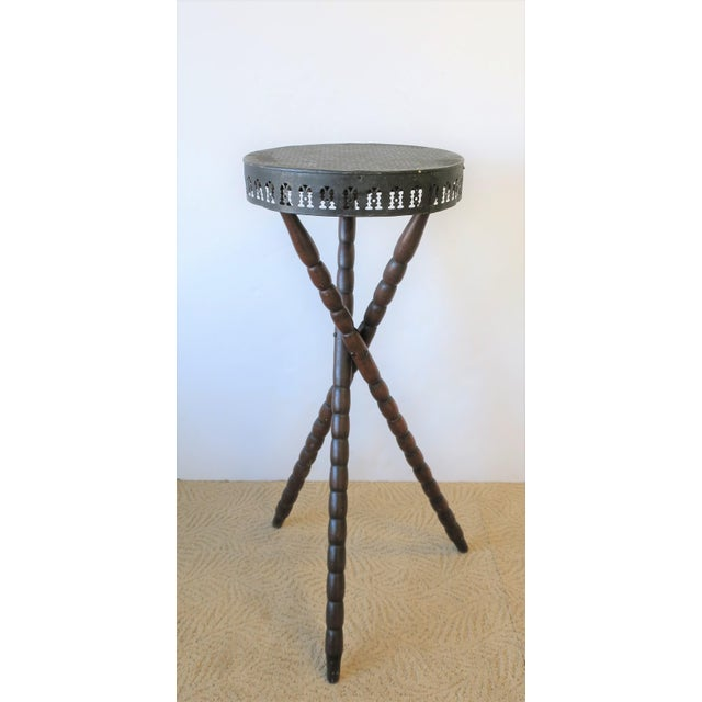 Early 20th Century 20th Century Rustic Black and Brown Tripod Side Table For Sale - Image 5 of 13