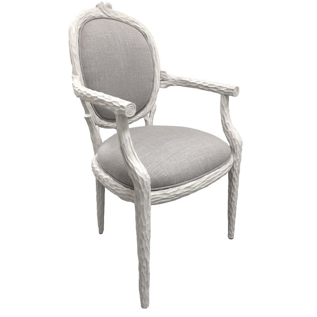 White Faux-Bois Armchairs - A Pair - Image 3 of 5