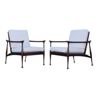 Fratelli Reguitti Attributed Italian Walnut Lounge Chairs - A Pair For Sale