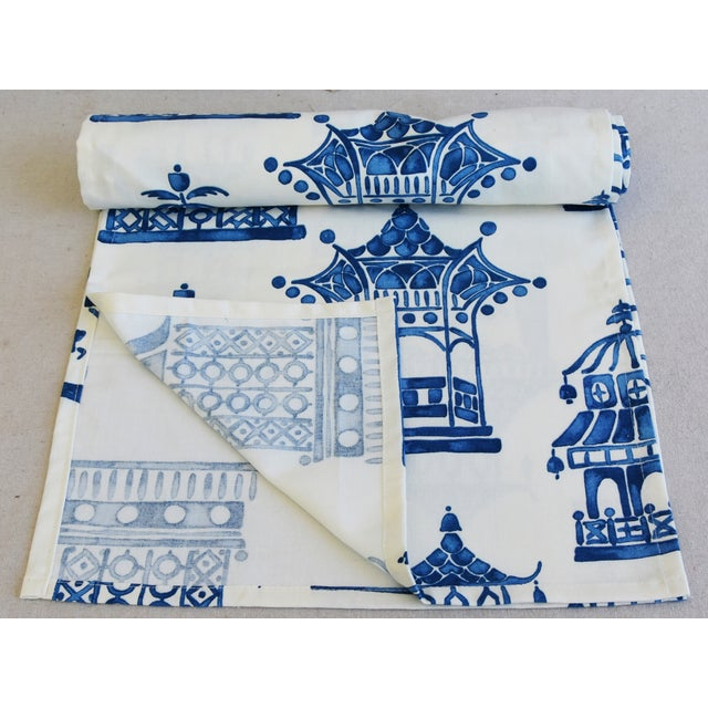 """Abstract Chinoiserie Blue & White Pagoda Table Runner 110"""" Long For Sale - Image 3 of 7"""