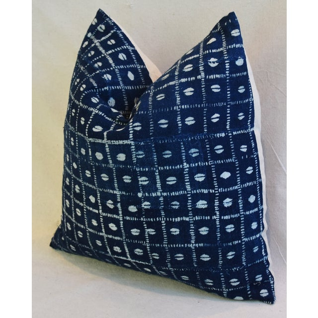 Indigo Blue & White Mali Tribal Feather/Down Pillow - Image 6 of 8