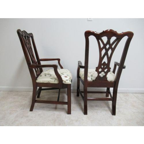 Thomasville Solid Mahogany Chippendale Dining Arm Chairs - a Pair For Sale In Philadelphia - Image 6 of 12