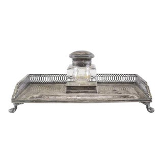 Dutch Silver Inkwell and Stand Dated 1913 For Sale