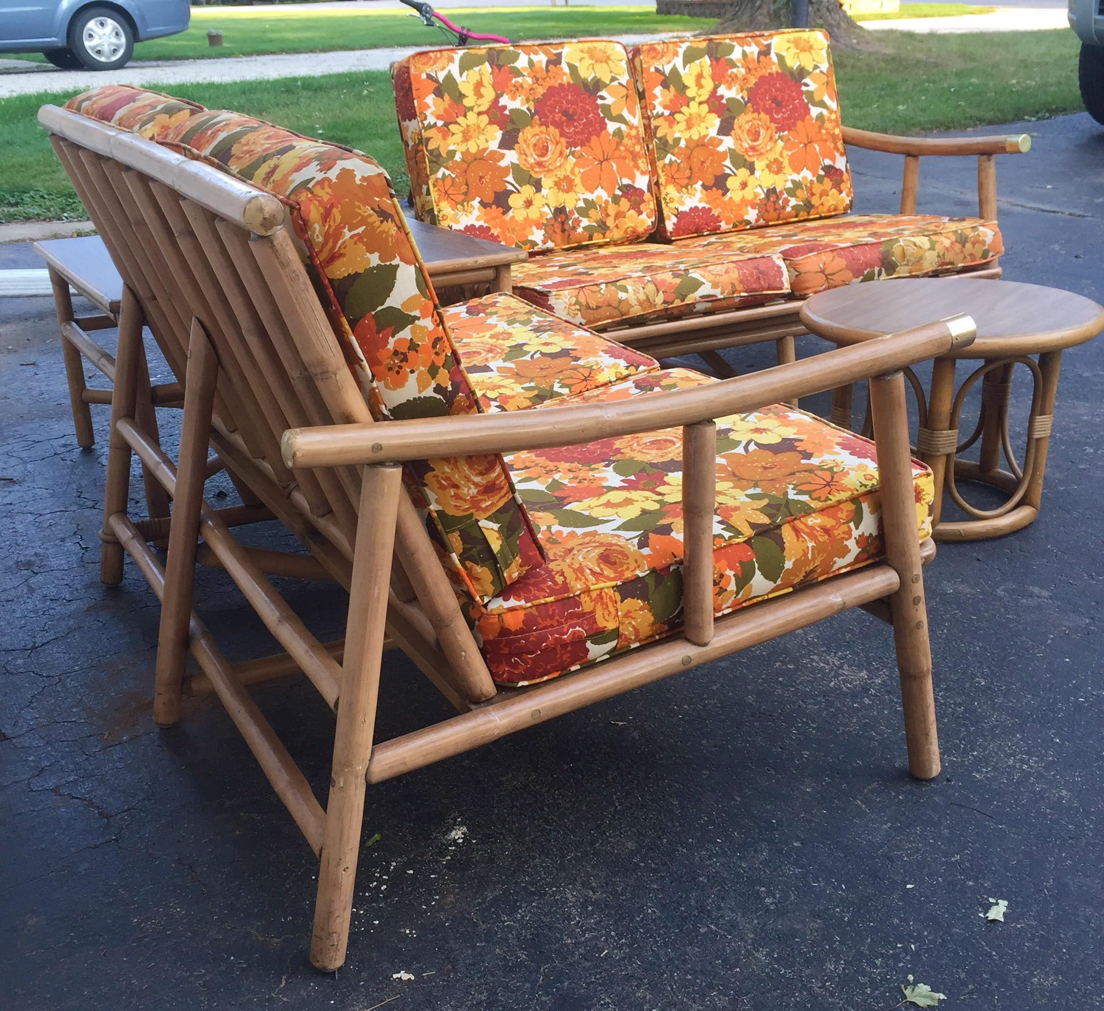 Charmant Late 20th Century Ficks Reed Rattan Sofa And Table Suite   Set Of 4 For Sale
