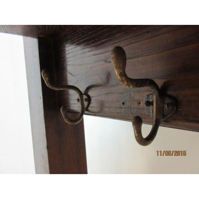 Arts & Crafts Antique Tiger Oak Art & Crafts Mission School House Coat Rack For Sale - Image 3 of 6