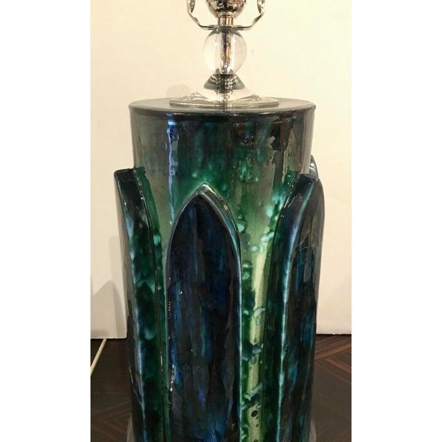 Mid-Century Modern Italian Vintage Mid-Century Modern Turquoise Ceramic Table Lamp For Sale - Image 3 of 5