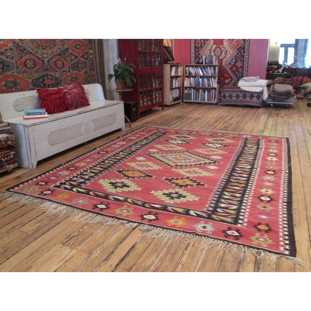A very nice old kilim from the Balkans in lovely colors and excellent condition