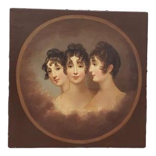 """Jane Stuart (American, 1812-1888) """"Three Sisters in Tondo"""" Original Oil Portrait C.1880 For Sale"""