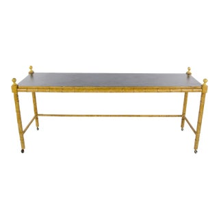 1970s Hollywood Regency Faux Bamboo Console Table on Casters For Sale