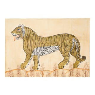 1980s Large Tiger Facing Left Painting on Canvas For Sale