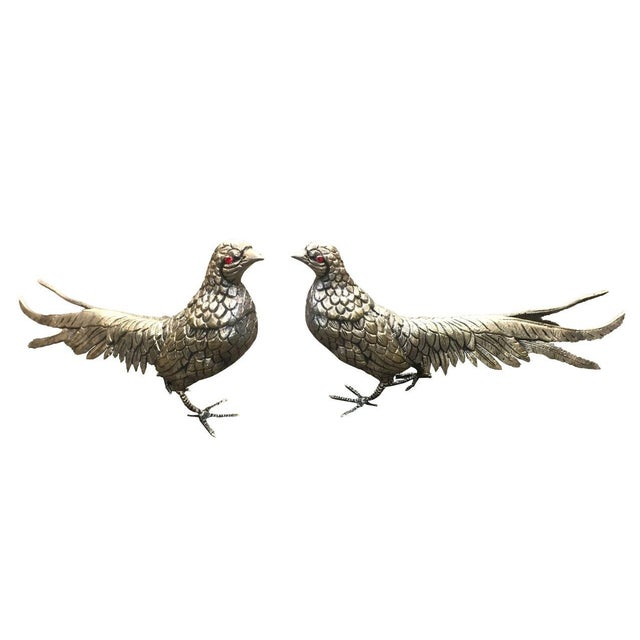 Late 20th Century Silver Plate Over Brass Pheasants - a Pair For Sale In Dallas - Image 6 of 6
