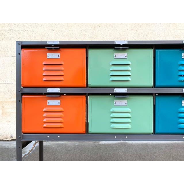 Not Yet Made - Made To Order Custom Made 5 X 2 Locker Basket Unit With Multicolored Drawers and Shelf For Sale - Image 5 of 9