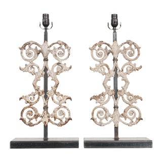 19th Century French Wrought Iron Fencing Fragment Table Lamps - a Pair For Sale
