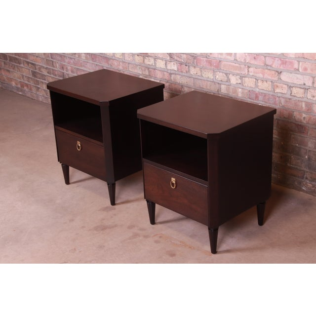 1950s Robsjohn-Gibbings for Widdicomb Mid-Century Modern Walnut Nightstands, Newly Refinished For Sale - Image 5 of 13